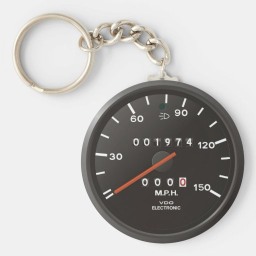 Racing car speedometer, inspired by air-cooled 911 key chains