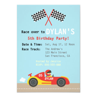 Racing Car Theme, Birthday Party for the Boys 11 Cm X 16 Cm Invitation Card