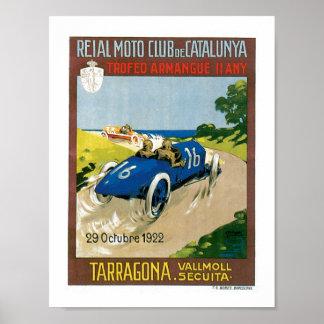 Racing cars 1922 Vintage Art Print Poster