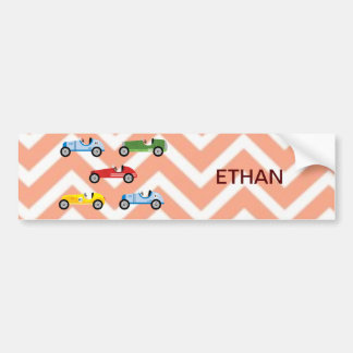 Racing Cars Auto Colorful Assorted on Chevron Bumper Sticker