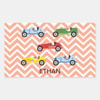 Racing Cars Auto Colorful Assorted on Chevron Rectangular Sticker