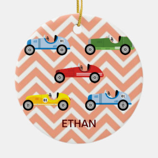 Racing Cars Auto Colorful Assorted on Chevron Round Ceramic Decoration