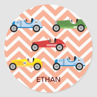 Racing Cars Auto Colorful Assorted on Chevron Round Sticker