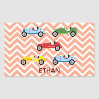 Racing Cars Auto Colorful Assorted on Chevron Rectangular Sticker