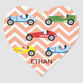 Racing Cars Auto Colorful Assorted on Chevron Heart Sticker