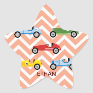 Racing Cars Auto Colorful Assorted on Chevron Stickers