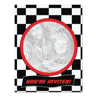 Racing Checkers Party Invitations