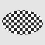 Racing Chequered Flag Pattern Large Black Oval Sticker