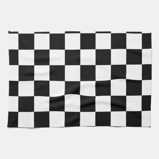 Racing Chequered Flag Pattern Large Black Tea Towel