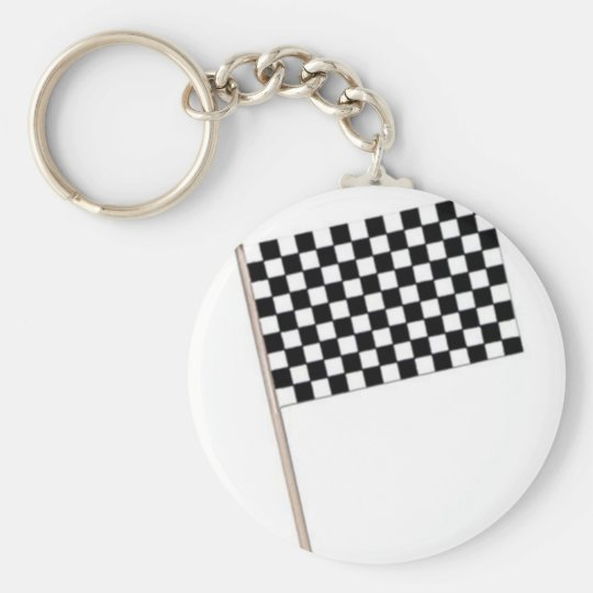 Racing Chequered Flags Basic Round Button Key Ring