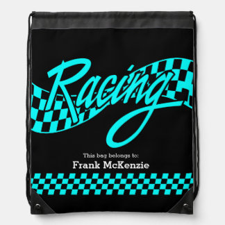 Racing, choose your background color drawstring bags