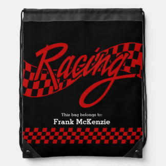Racing, choose your background color drawstring backpacks