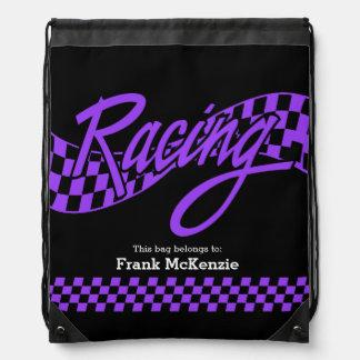 Racing, choose your background color drawstring bag