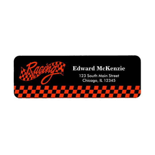 Racing, choose your background colour return address label