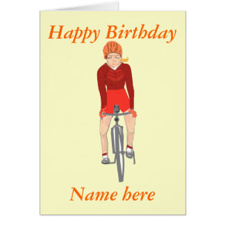 Racing Cyclist, woman add name and text Greeting Card