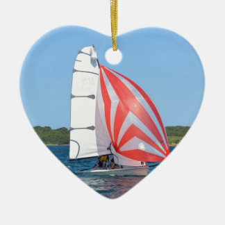 Racing Dinghy At Fornells Ceramic Heart Decoration