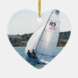 Racing Dinghy At Speed Ceramic Heart Decoration