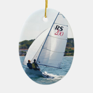 Racing Dinghy At Speed Ceramic Oval Decoration