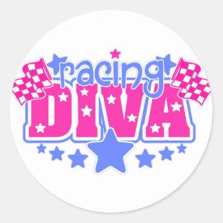 Racing Diva Round Sticker