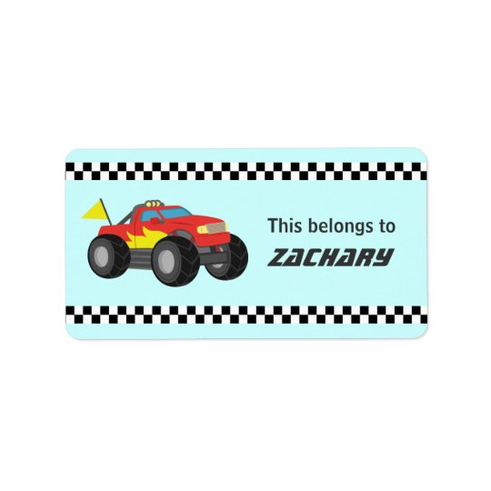 Racing Fiery Red Monster Truck, for Boys Address Label