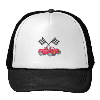 RACING FLAGS AND CAR TRUCKER HAT