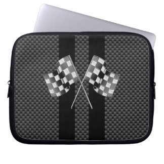 Racing Flags Design on Stripes Carbon Fiber Style Laptop Sleeve