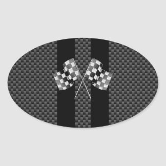 Racing Flags on Black Stripes Carbon Fiber Style Oval Sticker