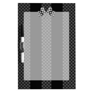Racing Flags on Stripes Carbon Fiber Like Style Dry Erase Board