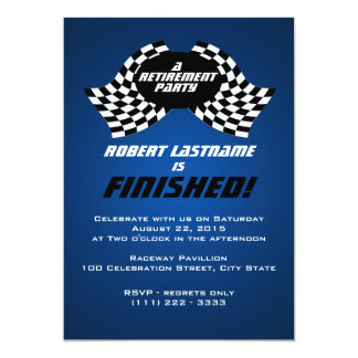 Racing Flags Retirement Party 13 Cm X 18 Cm Invitation Card
