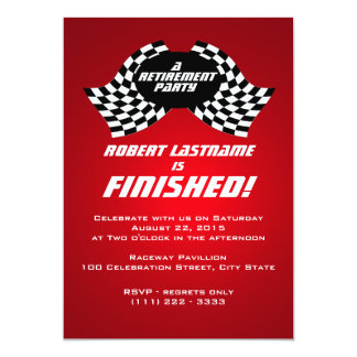 Racing Flags Retirement Party Red 13 Cm X 18 Cm Invitation Card