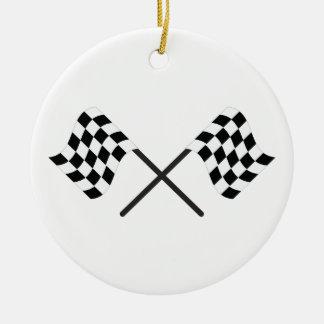 Racing Flags Round Ceramic Decoration