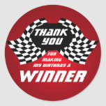 Racing Flags Thank You Red Round Sticker
