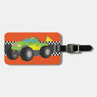 Racing Green Monster Truck for Racer Boys Luggage Tag