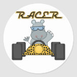 Racing Hippo T-shirts and Gifts Round Stickers