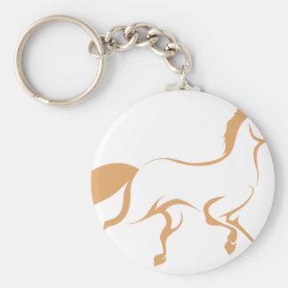 Racing Horse Running Basic Round Button Key Ring