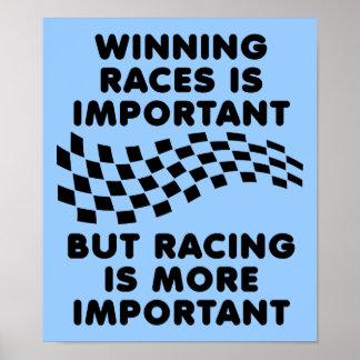 Racing Is More Important Dirt Bike Motocross Sign Poster