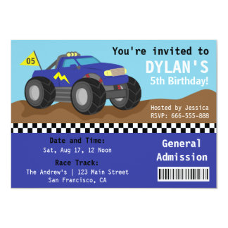 Racing Monster Truck Party, Blue Admission Ticket 11 Cm X 16 Cm Invitation Card