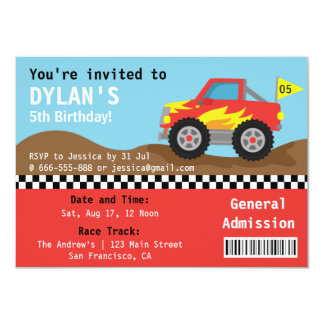 Racing Monster Truck Party, Boys Admission Ticket 11 Cm X 16 Cm Invitation Card