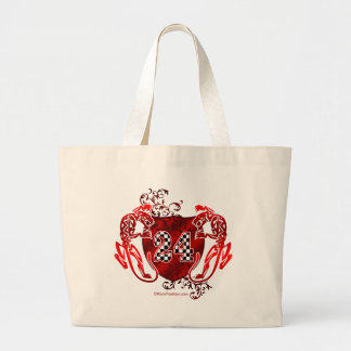 racing number 24 red with panthers/tigers jumbo tote bag