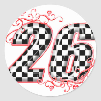 racing number 26 skulls round sticker