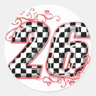 racing number 26 skulls classic round sticker