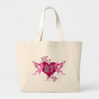 racing number 27 pink butterflies jumbo tote bag