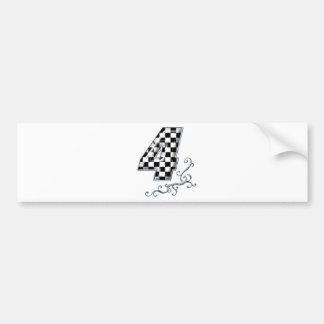 racing number 4 with gray silver desing bumper sticker