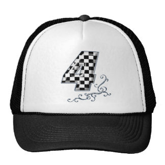 racing number 4 with gray silver desing trucker hat