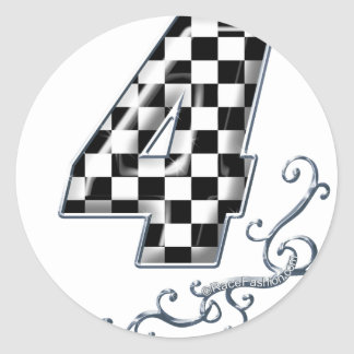 racing number 4 with gray silver desing round sticker