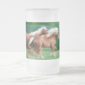 Racing Palomino Horses Frosted Beer Mug