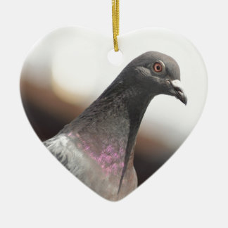 Racing pigeon ceramic heart decoration