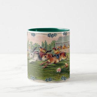 Racing Rabbits and Chicken Jockeys - Cute and Fun Two-Tone Mug
