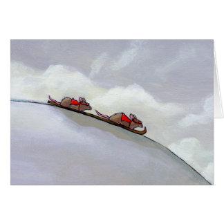 Racing rats skiing downhill fun unique rat art card