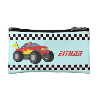 Racing Red Monster Truck, for Boys Makeup Bag